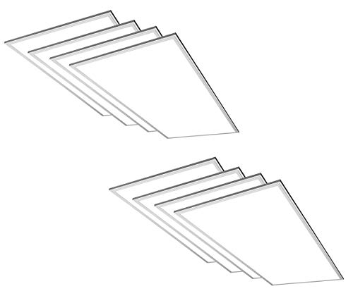 (TCP 8 Pack 2x4 FT LED Flat Panel Light Fixture, 50W - 5000 Lumens, 5000K Daylight, 110V-277V, 0-10V Dimming)