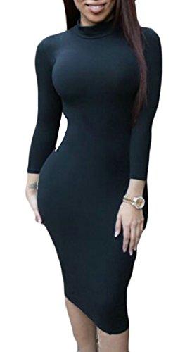 Jaycargogo Womens À Long Crayon De La Gaine Moulante À Manches Robes Midi Noir