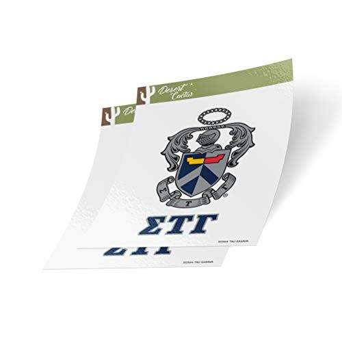 Desert Cactus Sigma Tau Gamma Crest & Letter 2-Pack Sticker Decal Greek for Window Laptop Computer Car sig Tau (Crest Sticker)