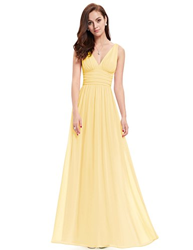 Ever-Pretty Womens Floor Length Semi Formal Evening Dress 8 US Yellow (Yellow Dresses For Women Evening)