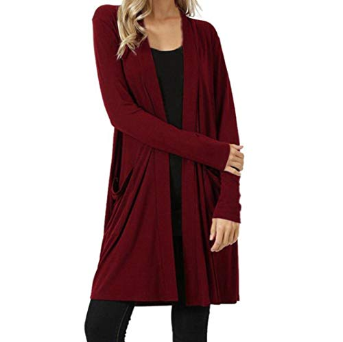FEITONG Womens Open Front Plus Pockets Loose Drape Cardigan Sweater (XL,Red) by FEITONG