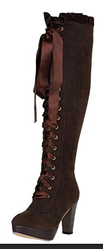 CHFSO Womens Stylish Waterproof Fully Fur Lace Up Chunky High Heel Platform Above The Knee Winter Boots Brown KO11z3D4x