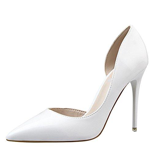 Blanc Sexy Ivoire Chaussures Bout Eté OALEEN Aiguille Vernis Haut Femme Pointu Escarpin Côté Ouvert Talon ASqnOTnI