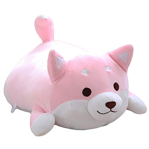 (Shiba Inu Dog Plush Pillow,Soft Cute Corgi Stuffed Animals Doll Toys Gifts for Valentine, Christmas, Birthday, Bed, Sofa Chair (Pink Round Eye, 21.3in))