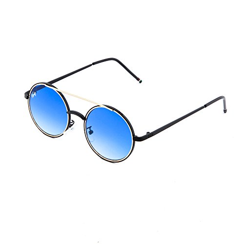 mujer Negro GIOTTO espejo TWIG Azul sol de hombre redondo Degradado Gafas 1fOq0wq