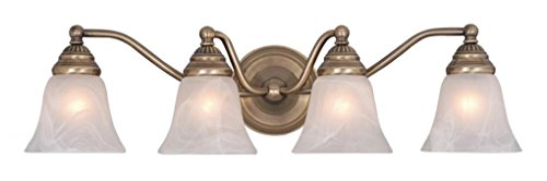 Vaxcel VL35124A Standford 4 Light Vanity Light, Antique Brass Finish (Antique Brass Bathroom Light Fixtures)