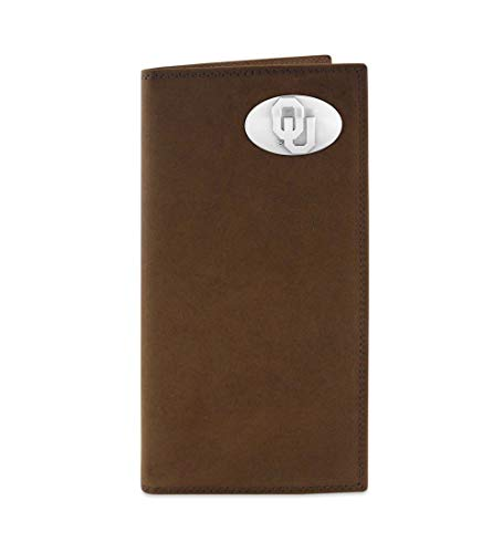 NCAA Oklahoma Sooners Light Brown Crazyhorse Leather Roper Concho Wallet, One Size