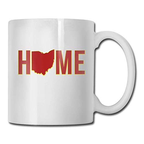 Home in Ohio State Coffee Mugs Ceramic Coffee Cups with Large C-Handle Funny Coffee Mug Cool Coffee Tea Cup 11 Ounces Perfect Gift for Family and Friend