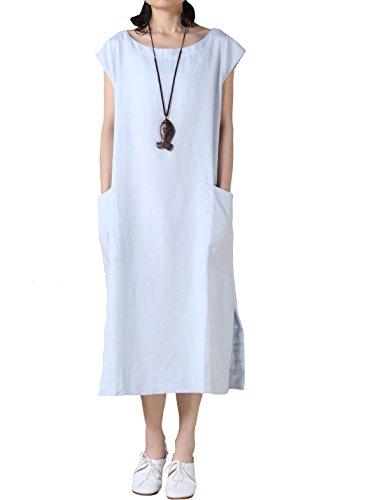 Mordenmiss Women's Cotton Linen Dresses Cap Sleeve Summer Dress with Pockets L-Light Blue... Cap Sleeve Shirt Dress