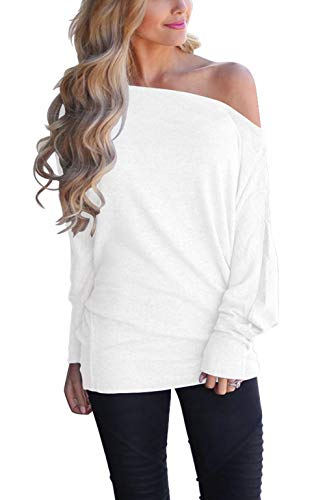 LACOZY Women's Off Shoulder Pullover Sweater Batwing Long Sleeve Shirts Tunic Tops Oversized Sweatshirts White 2X-Large (White Off The Shoulder Plus Size Shirt)
