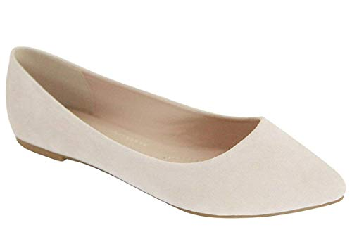 Bella Marie Angie-53 Women's Classic Pointy Toe Ballet Slip On Flats Shoes (8 B(M) US, Nude Velvet)