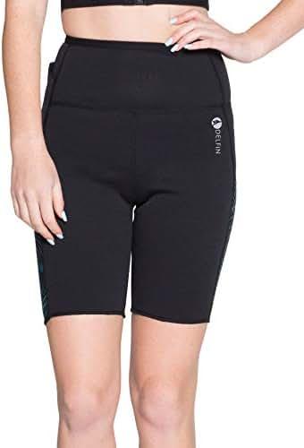 Delfin Spa Women's Heat Maximizing Neoprene Workout Shorts - Petite Thru Plus
