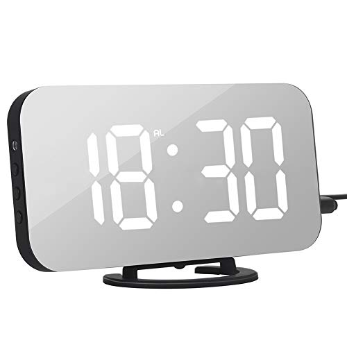 Digital Alarm Clock, dezirZJjx Fashion Digital LED Mirror Dual USB Port Rechargeable Dimmer Snooze Alarm Clock ()