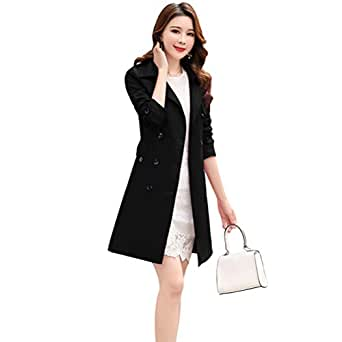 Women Slim Fit Lapel Mid-Length Trench Coat Jacket Double Breasted Outwear with Belt S-5XL - Black - Small