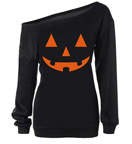 RJXDLT Women Halloween Sweatshirts Off Shoulder Pumpkin Print Long Sleeve Pullover Tops 97 Black M ()