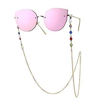 RONSHIN MeterMall Woman Fashion Colorful Diamond-Encrusted Anti-Slip Eyeglasses Chain Gold