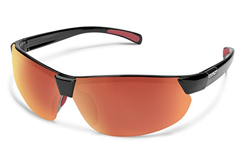 Suncloud Switchback Sunglasses, Black Frame/Red Mirror Polycarbonate Lens, One - Dot Red Sunglasses