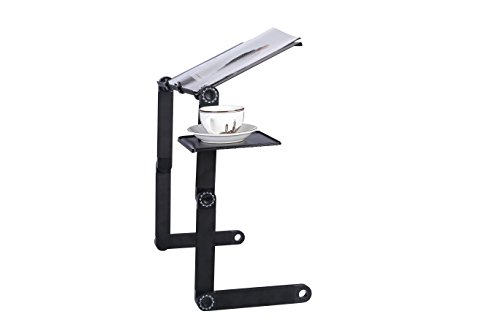 Portable Adjustable Aluminum Laptop Desk/Stand/Table Vented w/CPU Fans Mouse Pad Side Mount Bed Lap Tray Stand Up/Sitting-Black by OUTON (Image #4)