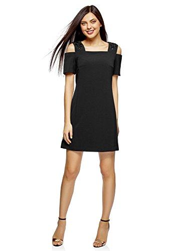 oodji Ultra Mujer Vestido Entallado con Hombros Abiertos Negro (2900n)