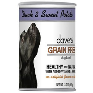 Dave's Grain Free, Duck & Sweet Potato For Dogs, 13 oz Can (Case of 12)