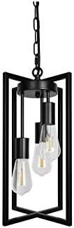Farmhouse Black 3-Light Industrial Chandelier Modern Pendant Lighting Hanging