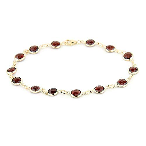 14k Yellow Gold Handmade Bracelet with Round 6mm Garnet Gemstones
