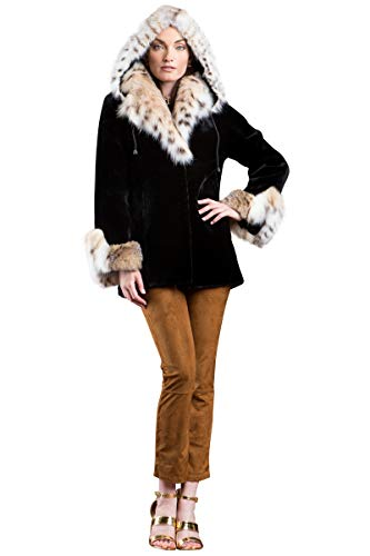 EM-EL Women's Hooded Black Sheared Beaver and American Lynx Fur Jacket
