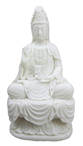 - Ebros Buddhism Eastern Enlightenment Water and Moon Goddess Kuan Yin Meditating On Lotus Throne Statue Buddha Themed Religious Decorative Altar Figurine 7