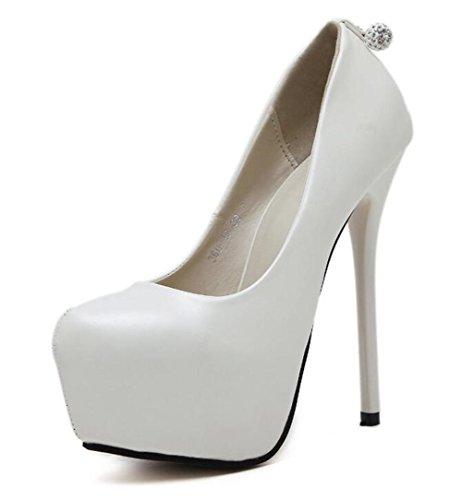 Femmes Court Chaussures Fermé-orteils 14Cm Ultra haut-talon caché Platform Party Chaussures , white , 36