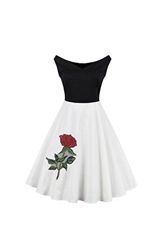 Vintage contrat sans manches couleur femmes Swing robe brodée