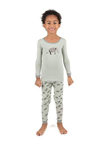Leveret Kids Pajamas Boys Girls 2 Piece pjs Set 100% Cotton (Elephant, Size 5 Toddler)