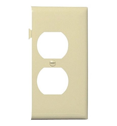 (Legrand-Pass & Seymour PJSE8I Sectional Thermoplastic Wall Plate Junior Jumbo Duplex Receptacle End Section, Ivory)