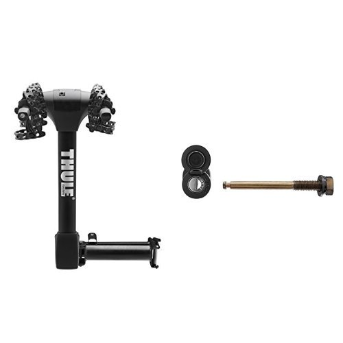 Thule 9031XT Vertex Swing Away 4 Hitch Mount Bike Carrier and Thule STL2 Snug-Tite Lock One Key System Locking Hitch Pin Bundle (Snug Lock Tite Receiver)