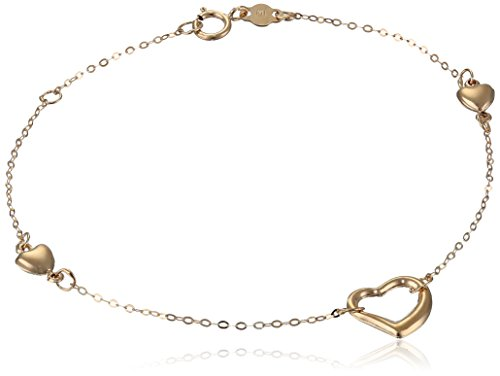14k Yellow Gold Puff Heart Station Bracelet, 7.25