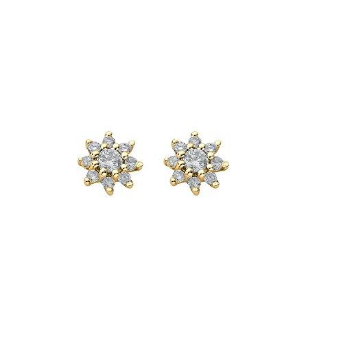 jareeya-Diamant 0,25ct, de boucles d'oreille à tige en or jaune 9carats
