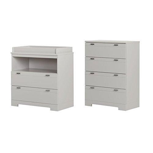 South Shore Reevo Dresser Changer and 4 Drawer Chest Set in Soft Gray