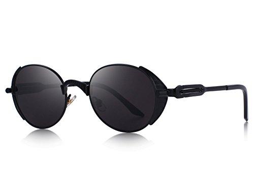 OLIEYE Vintage Steampunk Retro Metal Oval Frame Sunglasses O6166