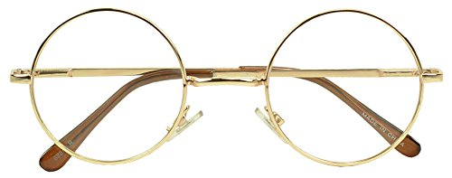 Sunglass Stop - Small Round Vintage Metal John Lennon Clear Lens Eye Glasses (Gold , Clear Lens - Eyeglasses Round Gold
