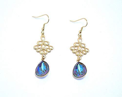 Sapphire Blue Swarovski Crystal Chandelier Earrings in Pear-Shaped Teardrops, Gold Hypoallergenic or Nickel Free Ear Wires for Sensitive Ears