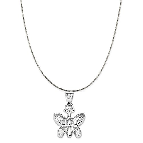 - Sterling Silver Rhodium Plated Polished Puffed Butterfly Charm on a Sterling Silver Snake Chain Necklace, 16