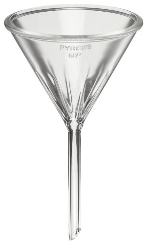 Corning Pyrex 6180-75 Borosilicate Glass Fluted Funnel, with Short Stem, 75mm Diameter (Pack of 12) ()