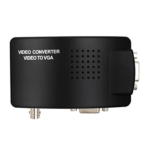 Portable BNC to VGA Video Converter Composite S-Video Input to PC VGA Out Adapter Digital Switch Box for PC MACTV Camera DVD DVR ()