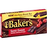Bakers Semi Sweet Baking Chocolate Bar, 4 Ounce - 12 per case.