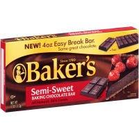 Bakers Semi Sweet Baking Chocolate Bar, 4 Ounce - 12 per case.