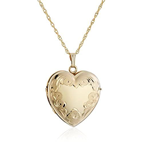 14k Yellow Gold-Filled Engraved Four-Picture Heart Locket Necklace, 20