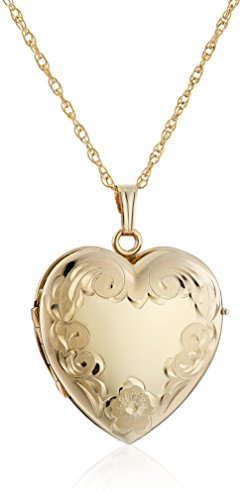 14k Gold Locket - 14k Yellow Gold-Filled Engraved Four-Picture Heart Locket Necklace, 20