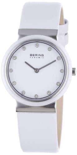 BERING Time 10729-854 Women's Ceramic Collection Watch with Leather Band and scratch resistant sapphire crystal. Designed in Denmark. 10729-854