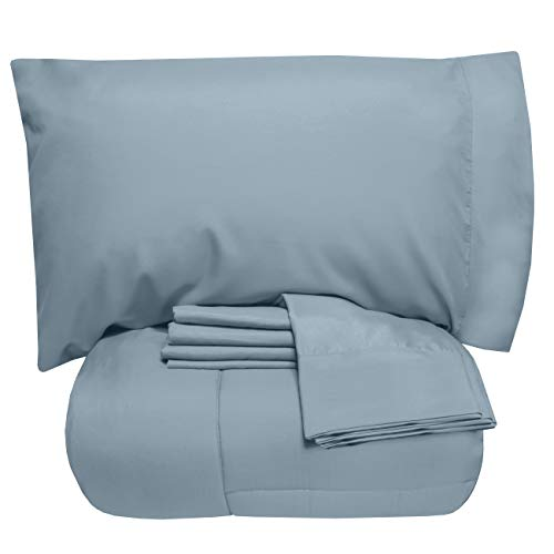 Sweet Home Collection 7 Piece Comforter Set Bag Solid Color All Season Soft Down Alternative Blanket & Luxurious Microfiber Bed Sheets, Queen, Misty Blue (Cotton A Bag Brushed In Bed)