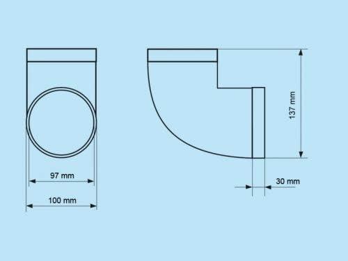 90/° Bogen Rohrbogen 90 Grad PVC rund L/üftung Abluft Zuluft System /Ø 150