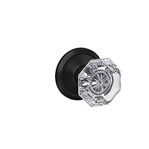 Schlage Custom FC21 ALX 622 ALD Alexandria Glass Knob with Alden Trim Hall-Closet and Bed-Bath Lock, Matte Black
